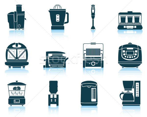 Set of kitchen equipment icons Stock photo © angelp