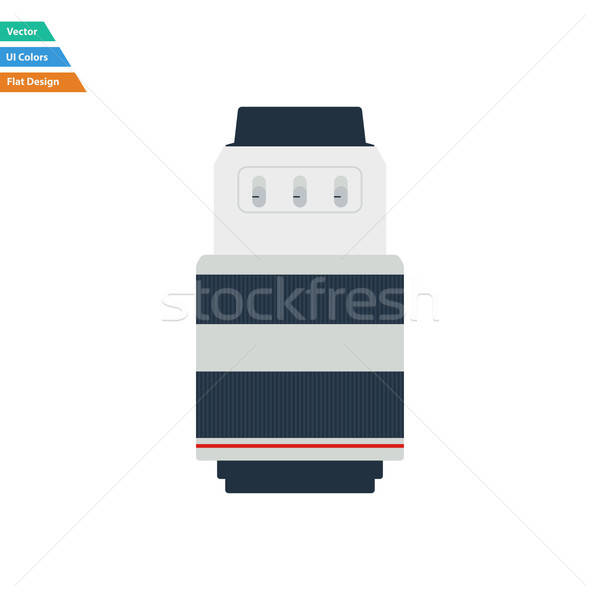 Flat design icon of photo camera zoom lens in ui colors Stock photo © angelp