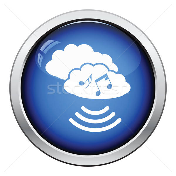 Muzyki chmura icon przycisk projektu niebo Zdjęcia stock © angelp
