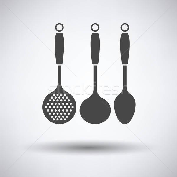 Chochla zestaw ikona szary żywności projektu Zdjęcia stock © angelp