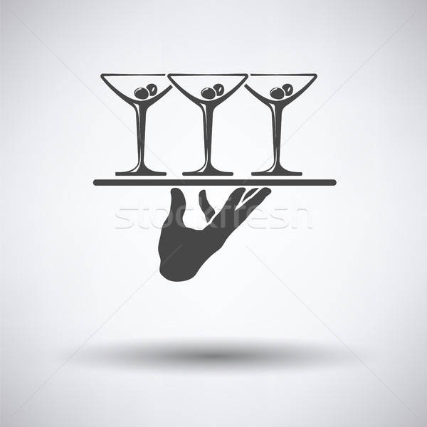 Pincér kéz ikon tart tálca martini Stock fotó © angelp