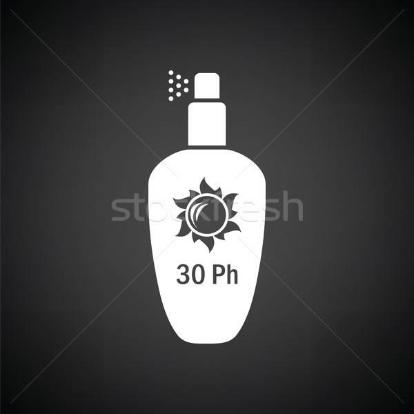 Nap elleni védelem spray ikon feketefehér utazás olaj Stock fotó © angelp