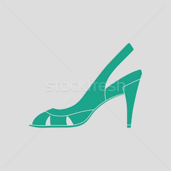 Kobieta ikona szary zielone zakupy piękna Zdjęcia stock © angelp