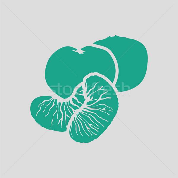 Mandarijn- icon grijs groene vruchten teken Stockfoto © angelp