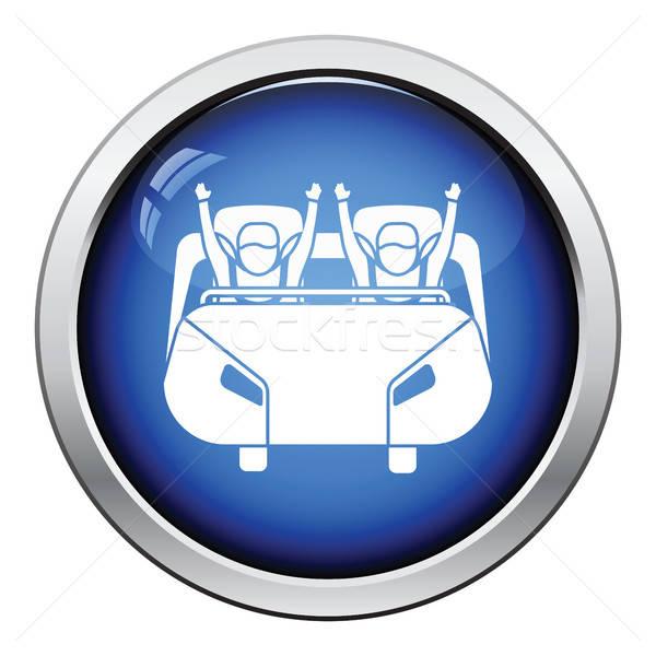 Hullámvasút kosár ikon fényes gomb terv Stock fotó © angelp