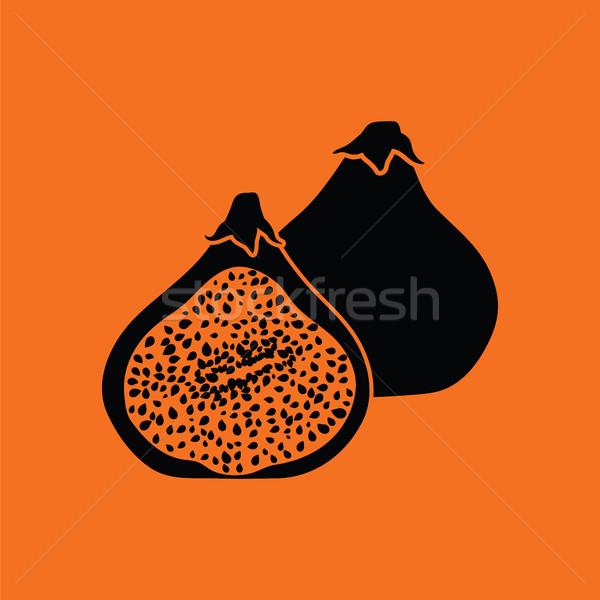 Vijg vruchten icon oranje zwarte teken Stockfoto © angelp