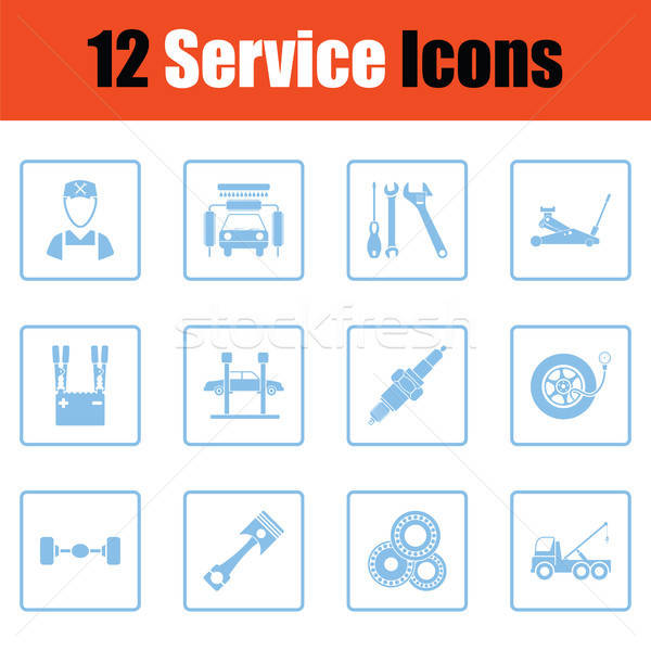 Ingesteld twaalf dienst station iconen Stockfoto © angelp