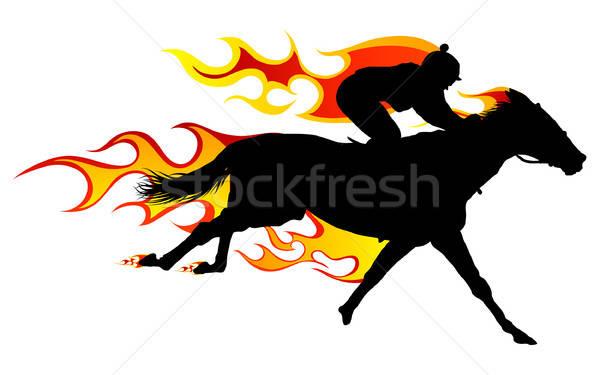 Stockfoto: Vlam · paard · silhouet · brand · lichaam · kunst