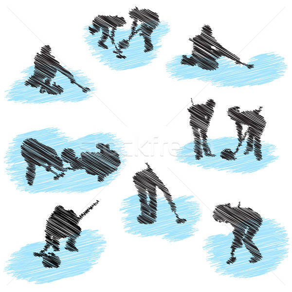 Set of curling player grunge silhouettes Stock photo © angelp