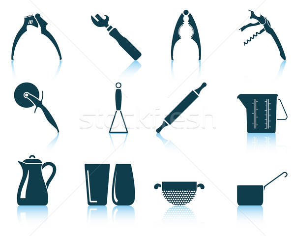 Set of utensil icons Stock photo © angelp