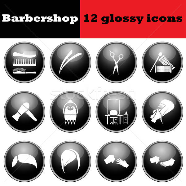 Set of barbershop glossy icons Stock photo © angelp