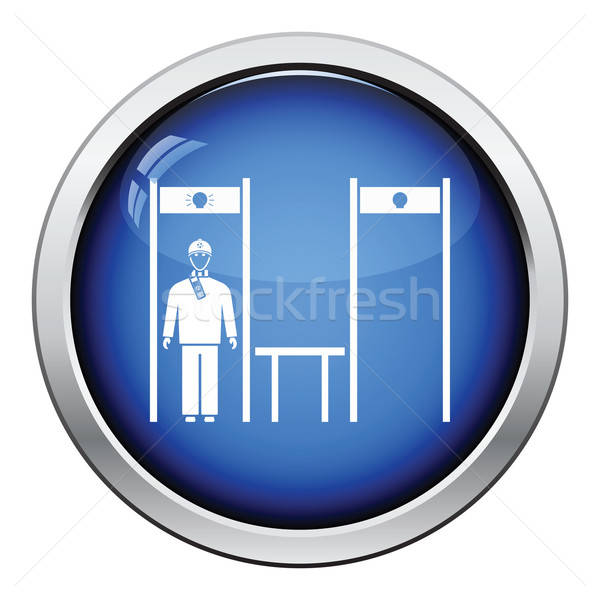 Stadium metal detector frame with inspecting fan icon Stock photo © angelp