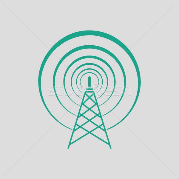 Radyo anten ikon gri yeşil iş Stok fotoğraf © angelp