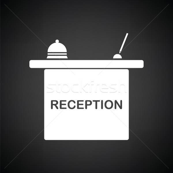 Hotel reception desk icona bianco nero lavoro Foto d'archivio © angelp
