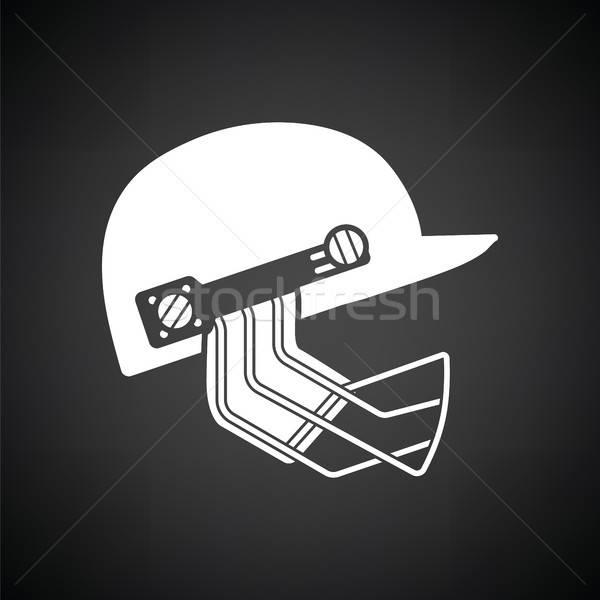 Foto stock: Críquete · capacete · ícone · preto · e · branco · esportes · preto