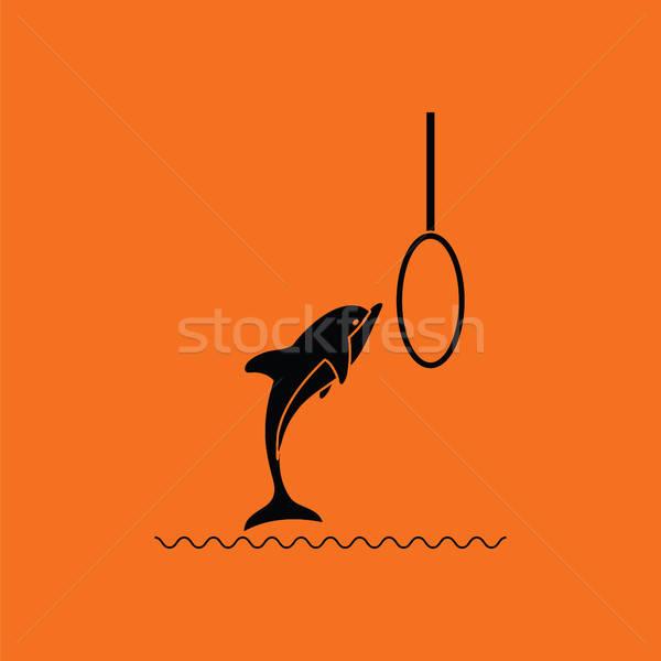 Aller dauphins icône orange noir vie Photo stock © angelp