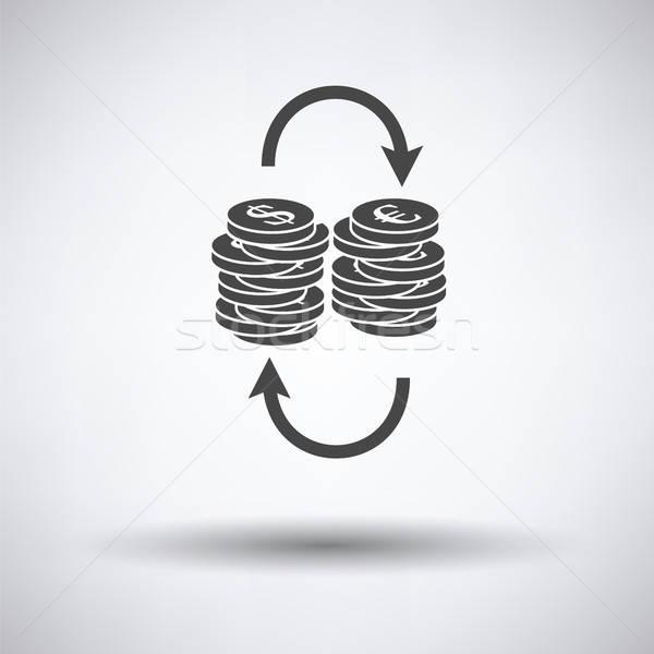 ドル ユーロ コイン スタック アイコン グレー ストックフォト © angelp