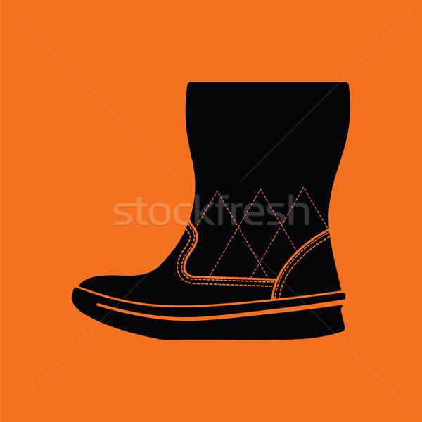 Mujer mullido arranque icono naranja negro Foto stock © angelp