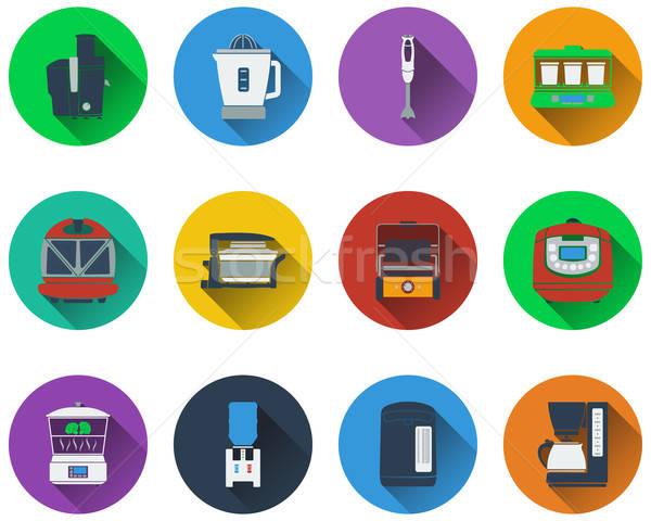 Szett konyhai felszerelés ikon szett ikonok kávé terv Stock fotó © angelp