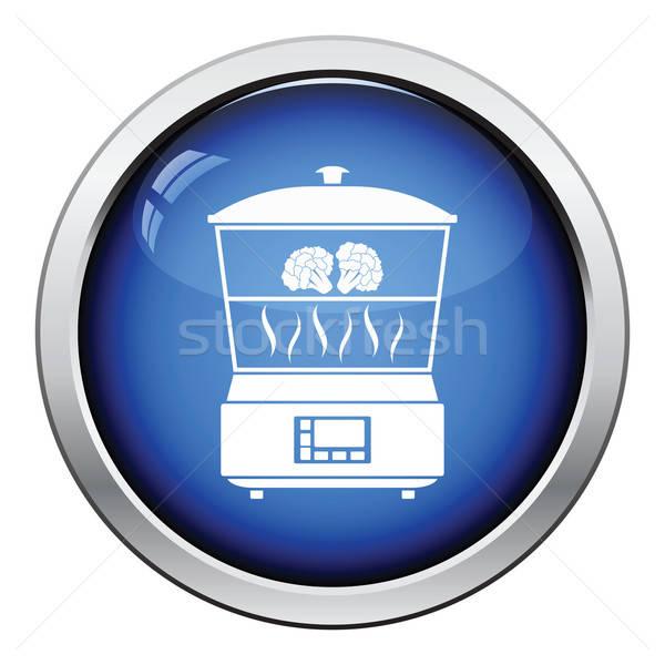 Cuisine vapeur icône bouton design Photo stock © angelp