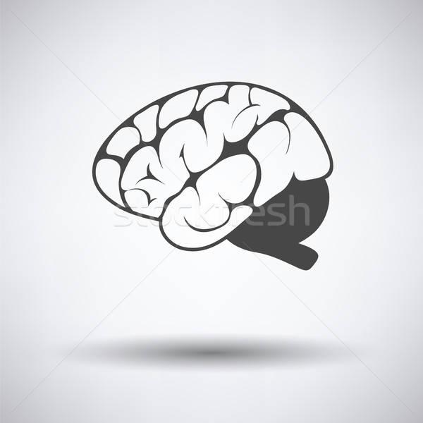 Mózgu ikona szary medycznych technologii tle Zdjęcia stock © angelp