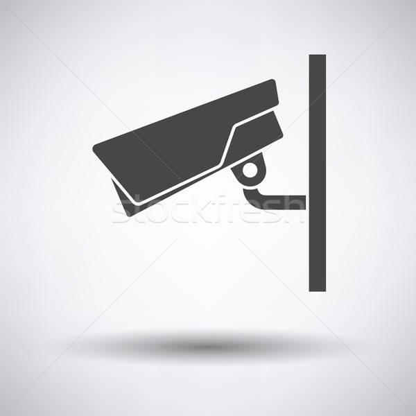 Telecamera di sicurezza icona grigio televisione sfondo sicurezza Foto d'archivio © angelp