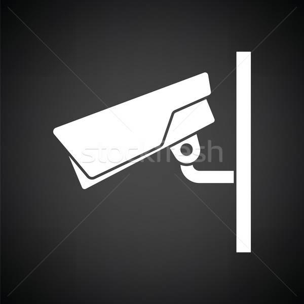 Biztonsági kamera ikon feketefehér biztonság felirat rendőrség Stock fotó © angelp