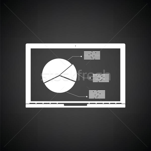 Laptop with analytics diagram icon Stock photo © angelp