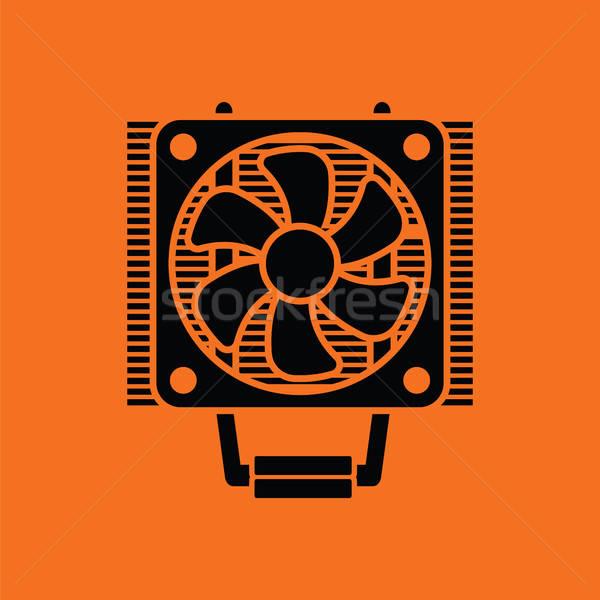 Foto stock: Cpu · ventilador · ícone · laranja · preto · tecnologia