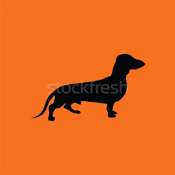 Teckel hond icon oranje zwarte glimlach Stockfoto © angelp
