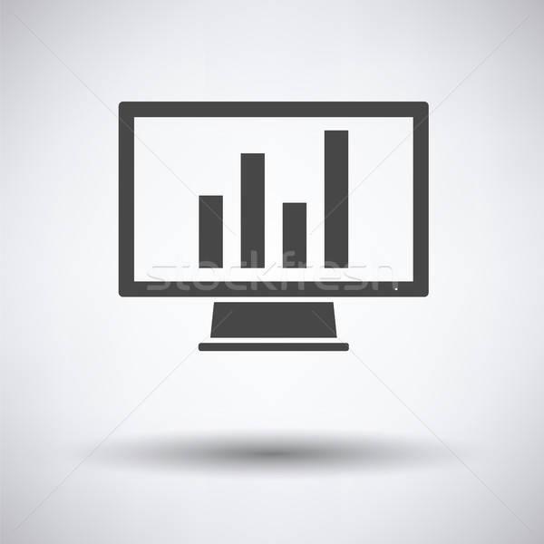 Foto d'archivio: Monitor · analitica · diagramma · icona · grigio · business