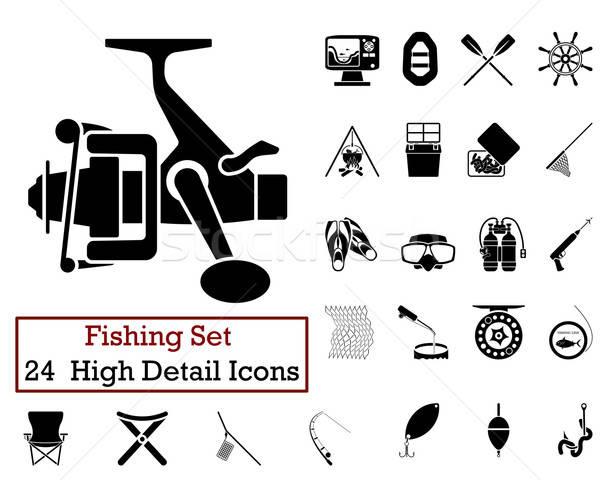24 Fishing Fishing Icons Stock photo © angelp
