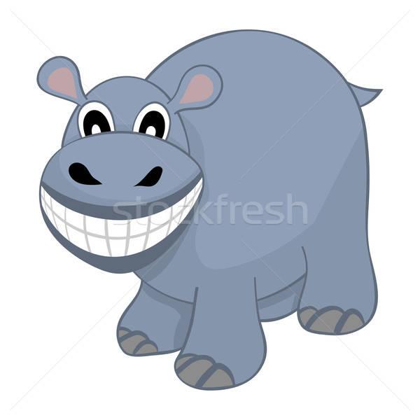 Divertente cartoon ippopotamo ampia sorriso Foto d'archivio © angelp