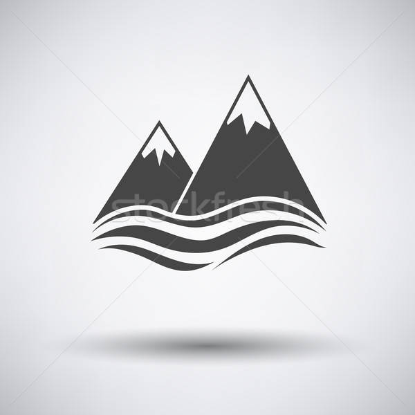 Snow peaks cliff on sea icon Stock photo © angelp