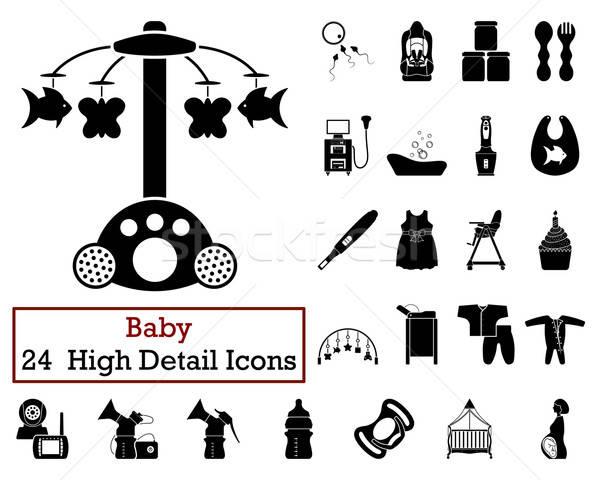 Ayarlamak 24 bebek simgeler siyah Stok fotoğraf © angelp