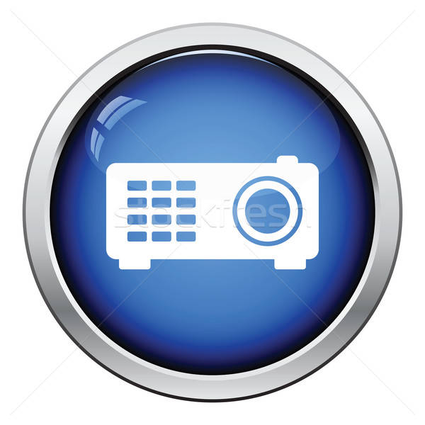 Video projector icon glanzend knop ontwerp Stockfoto © angelp