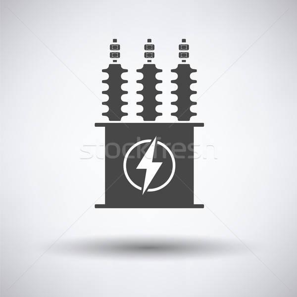 Elétrico transformador ícone cinza fundo caixa Foto stock © angelp