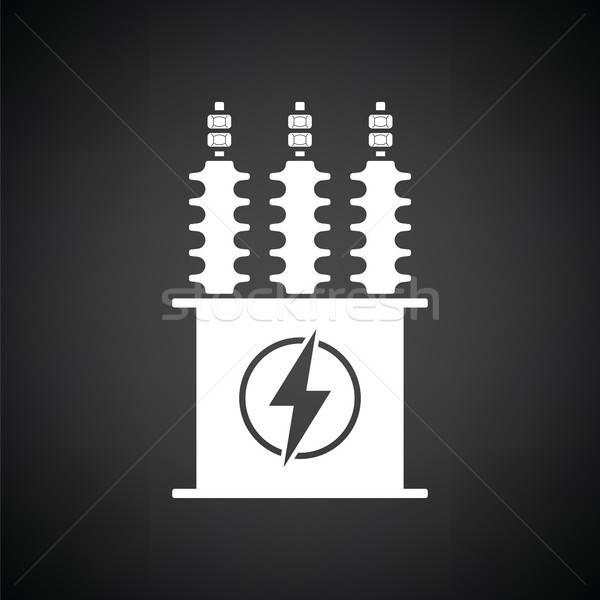 Elétrico transformador ícone preto e branco fundo caixa Foto stock © angelp