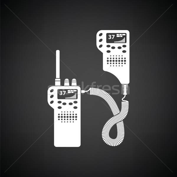 ストックフォト: 警察 · ラジオ · アイコン · 黒白 · 手 · にログイン