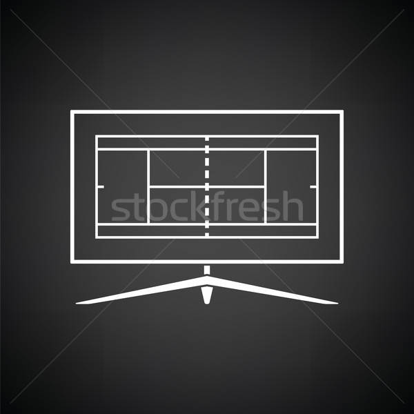 Tennis tv traduzione icona bianco nero sport Foto d'archivio © angelp