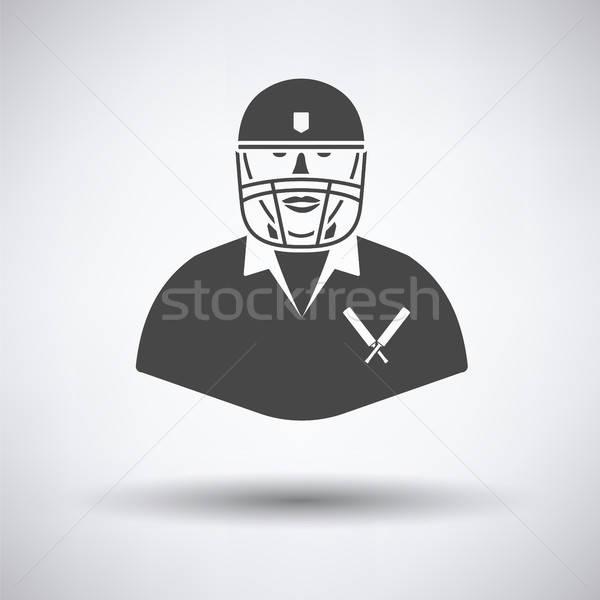 Críquete jogador ícone cinza homem campo Foto stock © angelp