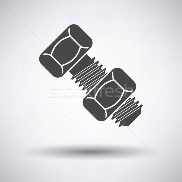 Symbol Bolzen Mutter grau Metall Zeichen Stock foto © angelp