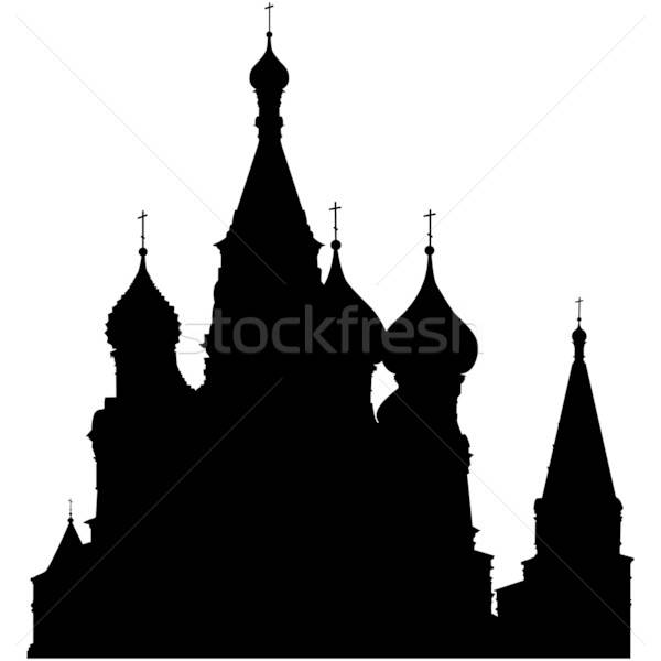 Katedrális sziluett Vörös tér Moszkva Oroszország terv Stock fotó © angelp