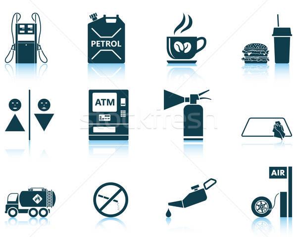 Zestaw stacja benzynowa dwanaście ikona Zdjęcia stock © angelp