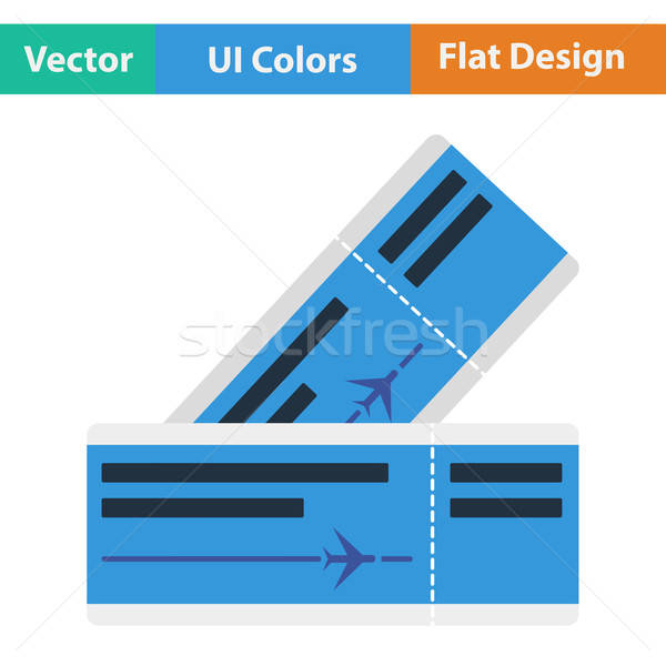 Flat design icon of airplane tickets  Stock photo © angelp
