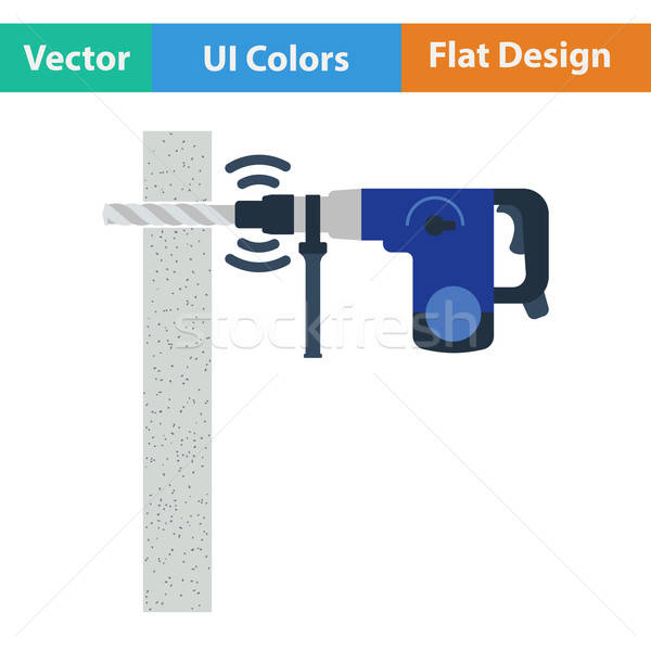 Flat design icon of perforator drilling wall Stock photo © angelp