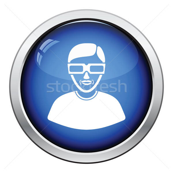 Man with 3d glasses icon Stock photo © angelp
