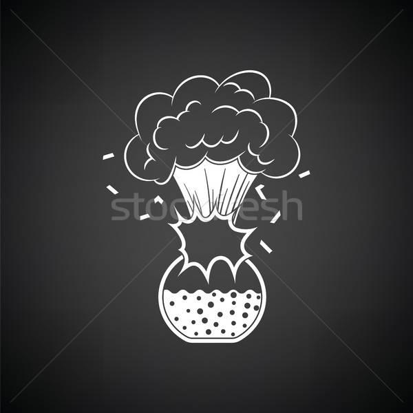 Ikon robbanás kémia flaska feketefehér orvosi Stock fotó © angelp