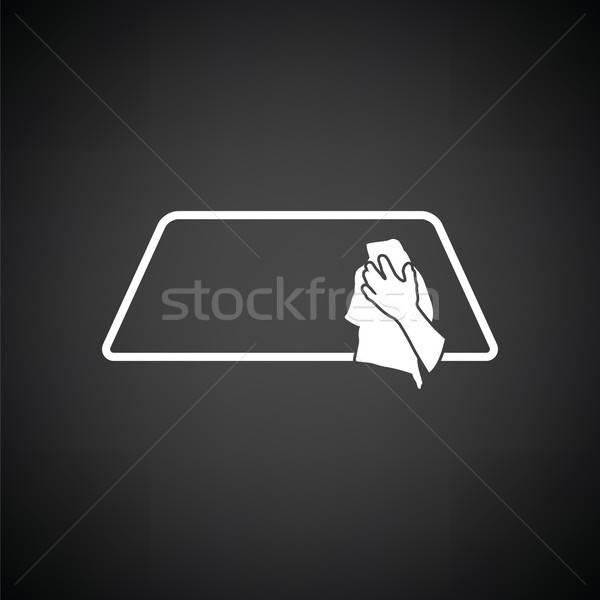 Silme araba pencere ikon siyah beyaz el Stok fotoğraf © angelp