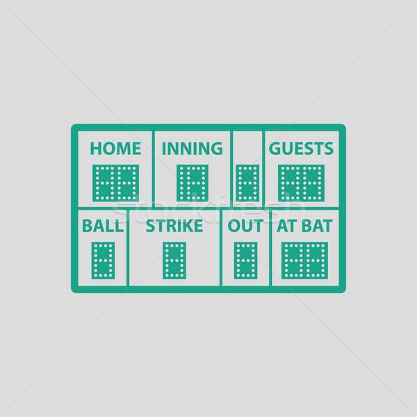 Baseball scorebord icon grijs groene hemel Stockfoto © angelp